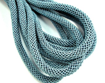 "Grey blue silk cord, grey blue braided cord, 9mm woven cord, ""larousse"" cord, 1m"