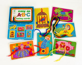 Vintage 1970s Toy / 70s Whitman Easy As ABC Lacing Cards VGC Complete