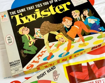 Vintage 1960s Game / Milton Bradleys Twister 1966 Complete VGC / The Active Game That Ties You Up in Knots / Game for All Ages
