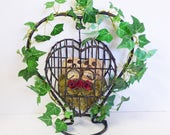 Gothic Wedding Center Piece - Romantic Skulls - Heart Birdcage with Skulls - Dark Love Artwork - Gothic Decor