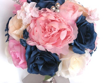 17 piece package wedding bouquets bridal bouquet wedding silk flowers light pink navy blue silver wedding