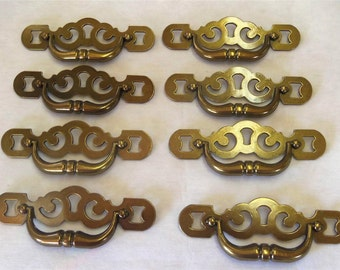 FREE SHIPPING SET/8 Drawer Pulls 4 Inch Centers Antique English