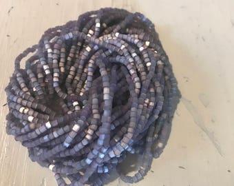 Vintage seed bead hank Lavender satin glow  250 inches  loom work Cosplay costume design