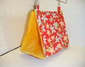 Bird Hut, Bird Tent, Small Parrot Tent, Bird Bed, Hawaiian Themed, Red Fabric, Yellow Fleece, Conure, Cockatiel, Parakeet, Small Parrot