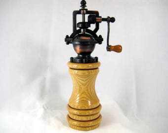 Pepper Mill Antique Style Handmade Ash Wood Cooper Mechasim