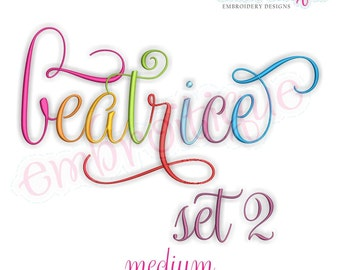 Beatrice 2 Monogram Font- Medium - BX files included- Instant Download Machine embroidery design