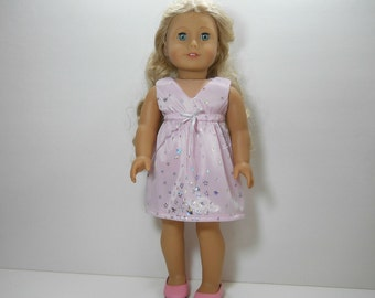 18 inch doll clothes made to fit dolls such as American Girl, Pink Star Dress, 02-1881