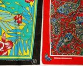 2 Vintage floral print Bandannas • made in U.S.A. bandana lot • poly / cotton
