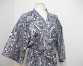 Japanese 60s Cotton Kimono Robe, Blue and White, Chrysanthemum Pattern, Size M