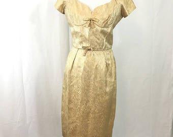 Vintage 1960s Gold Brocade Wiggle ala Mad Men Dress M or L