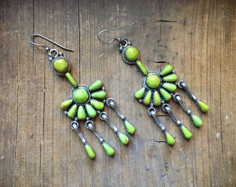 "Vintage 2-1/2"" long gaspeite sterling silver earrings, Southwestern earring, Native American Indian inspired earrings, green stone jewelry"