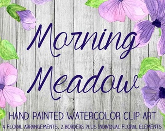 Instant Download - Hand Painted Watercolor Pink Purple Flowers Floral Arrangements Borders Clip Art Set - Item# 107 Morning Meadow