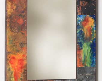 33 x 25 Copper and Metal  Mirror