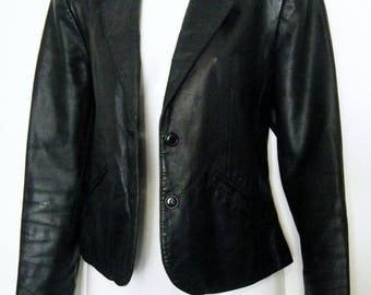 vintage BLACK LEATHER BLAZER by Wilsons slim fit tailored jacket, size m