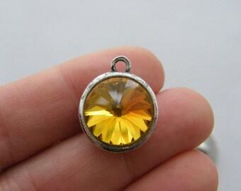 2 November birthstone charms antique silver tone
