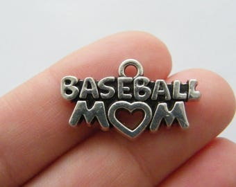BULK 20 Baseball mom charms antique silver tone M841