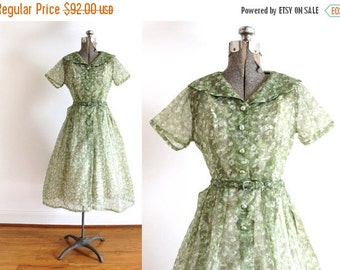 ON SALE 50s Dress / 1950s Sage Green Sheer Floral Dress