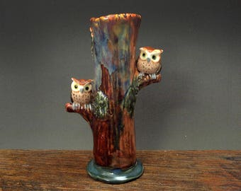 Hand sculpted ceramic owl bud vase by Anita Reay one of a kind bird figurine / owl decor / gifts for owl lovers /