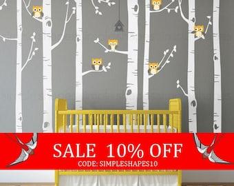 Sale - Birch Tree Wall Decal, Birch Tree With Owls Wall Sticker Set, Birch Tree Decal, Baby Nursery Wall Stickers W1112