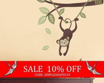 Sale - Monkey Hanging on a Branch Vine - Kids Vinyl Wall Sticker Decal Set