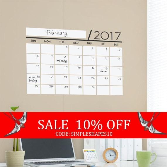 Sale - Unique Dry Erase Board Decal - 2017 Wall Calendar - Vinyl Wall Sticker