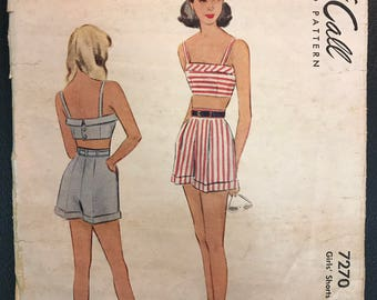 McCall 1948 Girls' Summer Play Suit Pattern # 2444 - Shorts and Midriff Bra Top - Size 14, Bust 32