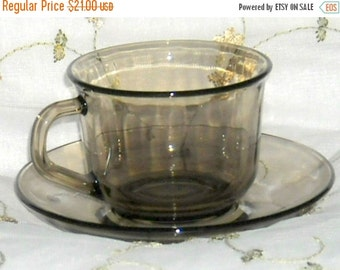 Shop Closing Sale Vintage Cups Saucers Arcoroc France Smoky Glass
