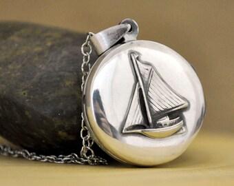 sterling silver locket necklace - JOURNEY - vintage style sailboat locket necklace antiqued sterling silver 925