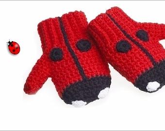HUGE SALE**** Crochet Pattern - Child's Ladybird Mittens Mitts
