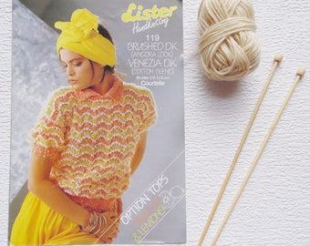 Vintage 1980s Knitting Pattern, Lister Handknitting Pattern 119, size 30-44in (76-112cm), Knitting, Sweater and Top