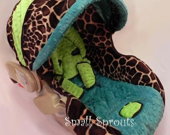 Giraffe Lime and Turquoise Infant Car Seat Cover 5 piece set