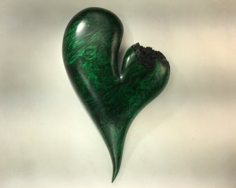 Heart wood carving green personalized Anniversary Gift best gift ever by Gary Burns
