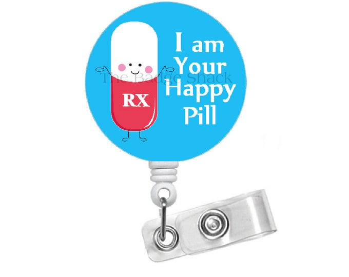 Happy Pill Retractable Badge Reel - RX Badge Holder - Pharmacy Student Badge Reel - Pharmacist Badge Holder - Pharmacy Assistant Badge Clip
