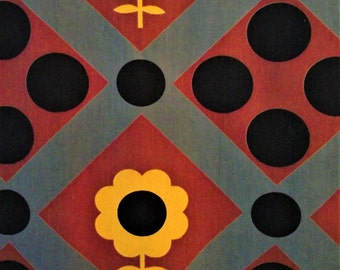 2 Mid century modern abstract vintage dots flowers Lowenstein cotton fabric curtain or drapery panels!