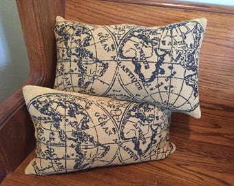 "Set of 2 OLD WORLD PILLOWS-burlap farmhouse style decor-12""x 20""-map-globe-trendy"