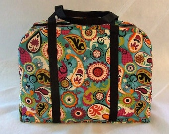Carrying Case that fits the Sizzix Big Shot Machine / Multi colored paisley print fabric