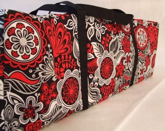 Carrying Case for the Cricut Explore Air / Silhouette Cameo 3 / Brother ScanUcut / Black, Red, Grey, White Large Floral Print Fabric