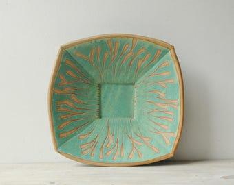Vintage Handmade Ceramic Bowl, Green Studio Pottery Serving Platter Plate