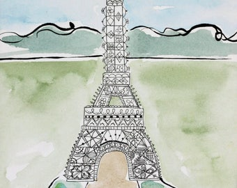 Eiffel Tower, Paris, pen and ink, watercolor, original illustration, green and black and white, line drawing, matted, lady feeding birds