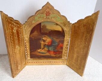 Vintage Triptych Madonna and Child Florentine Tole