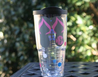 Monogram flip flops 24 oz acrylic Insulated cup and straw with polka dots - Great birthday or Mother's day gift