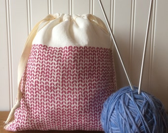 Knitting Bag, Organic Linen Drawstring Bag, Cloth Gift Bag , Bread Bag , Prod...