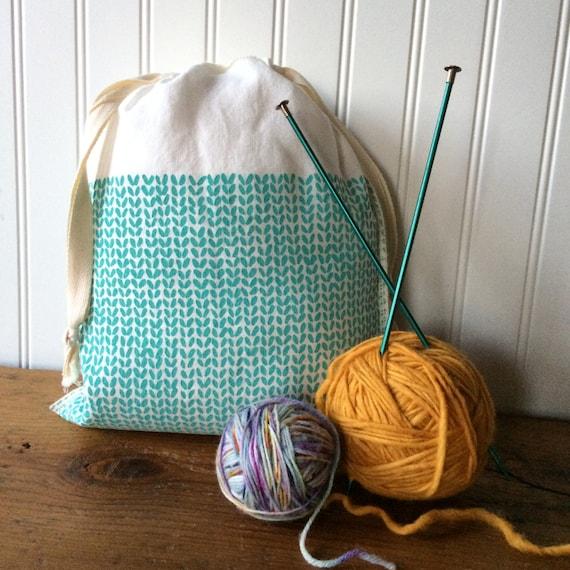Knit Stitch Knitting Project Bag, Organic Linen Drawstring Bag, Cloth Gift Ba...