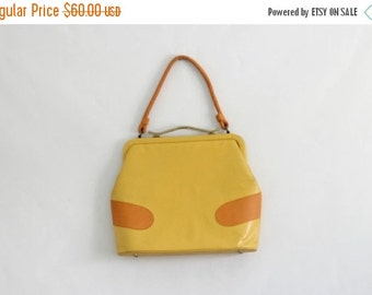 Vintage 1960s Purse Mod Handbag Yellow Leather Purse Top Handle Bag Mad Men Purse Shoulder Strap Purse Womens Yellow Purse