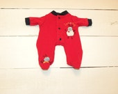 Red Love Bug Footed Sleeper - 12 inch boy doll clothes