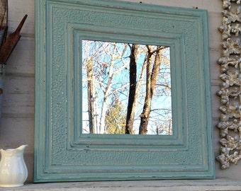 Vintage Ceiling tin Mirror.  Antique Architectural salvage.  2'x2' Wall Bathroom Mirror, Aqua turquoise blue mirror