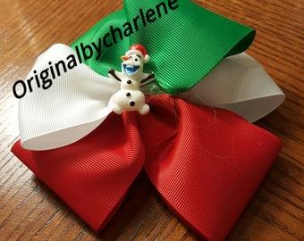 Boutique Happy Santa  Snowman Christmas Hairbow