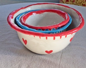 Holdiay Bowl Set, Christmas Bowls, Gift, Mixing Bowl Nesting 3, Rustic Bowl, Blue, Star,Red, Hearts, Polka Dots, Pottery, Gift, Inscribed