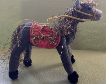 Cotton Batting Horse Ornament, Vintage Look-Vintage Lametta Angel Hair Tinsel, German Tinsel