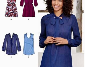 Mini Dress Pattern, Tunic Top Pattern, Pullover Blouse Pattern, Long Sleeve Blouse Pattern, Simplicity Sewing Pattern 8216